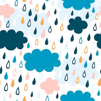 Cute pattern with raindrops and clouds