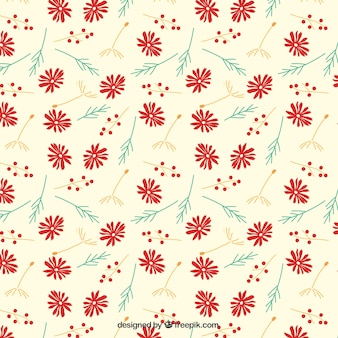 Cute pattern with red flowers