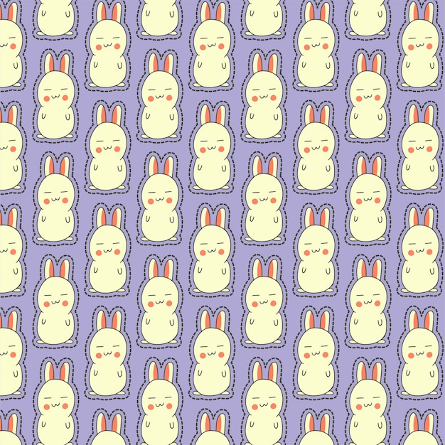 Cute pattern with sleepy bunny