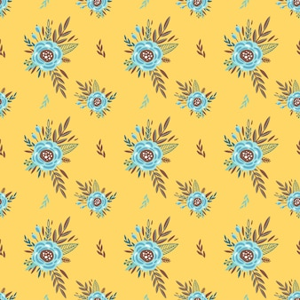 Cute pattern with small flower. small colorful flowers. yellow background. ditsy floral background. the elegant the template for fashion prints