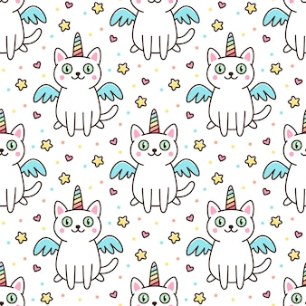 Cute pattern with white cat in a unicorn costume with wings and rainbow horn