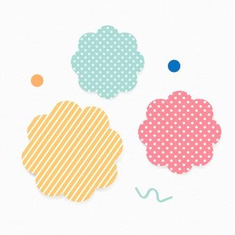 Cute patterned badge sticker, feminine pastel clipart vector set