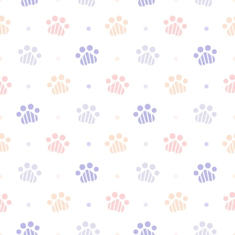 Cute paw footprint seamless pattern background