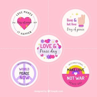 かわいい平和の日のラベルのコレクション