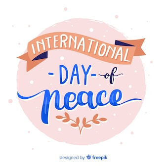 Cute peace day lettering background