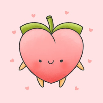 Cute peach cartoon hand drawn style