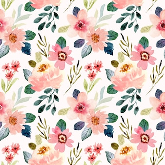 Cute peach flower watercolor seamless pattern