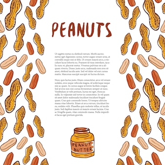 Cute peanuts template. sketched nuts hand drawn vector background. for your packaging design, healthy food magazine page.