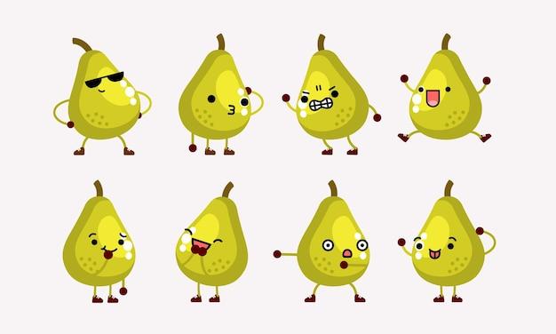 異なるポーズと表情のかわいい梨のキャラクターのマスコットイラスト