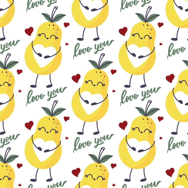 Cute pear print with a heart belly  seamless pattern.
