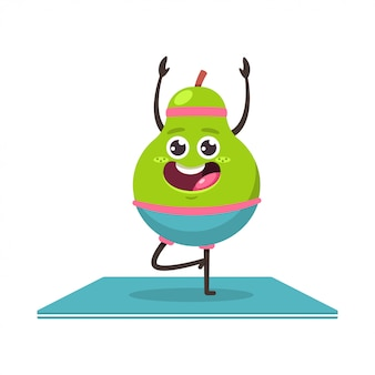 Cute pear in yoga pose. funny vector cartoon fruit character isolated . eating healthy and fitness.