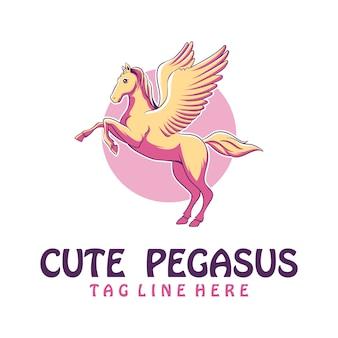 Cute pegasus logo design
