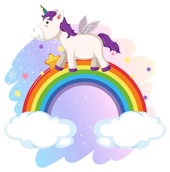Pegaso carino nel cielo pastello con arcobaleno