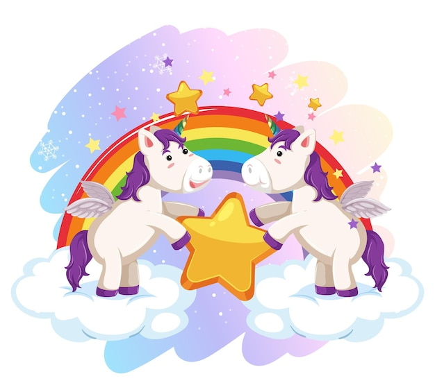 Cute pegasus in the pastel sky with rainbow