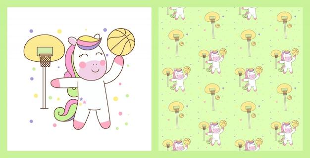 Cute pegasus playing basketball illustration with seamless pattern