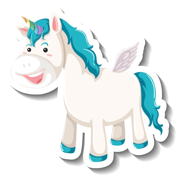 Cute pegasus standing pose on white background