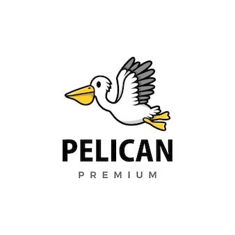 Симпатичный пеликан мультфильм логотип значок иллюстрации