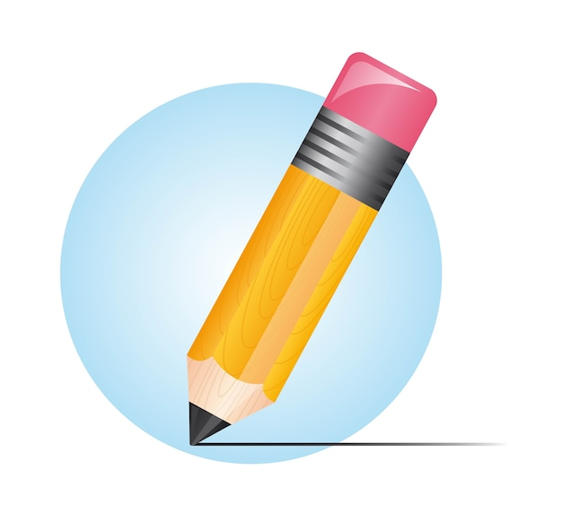 Cute pencil over blue circle isolated