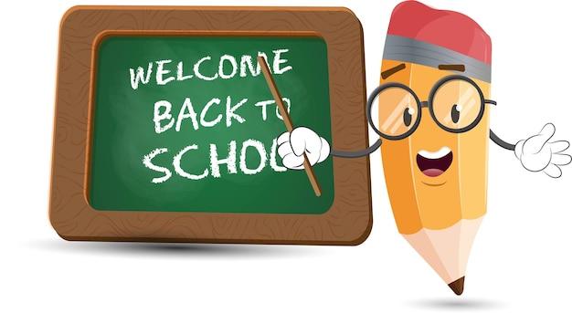 Cute pencil cartoon character with blackboard