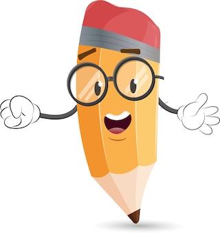 Cute pencil cartoon mascot character