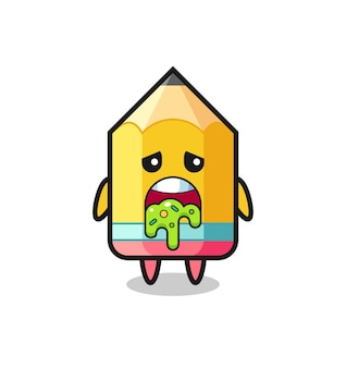 The cute pencil character with puke , cute style design for t shirt, sticker, logo element