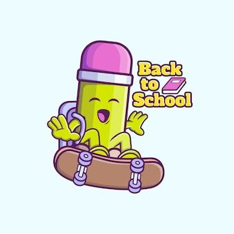 귀여운 연필 타고 스케이트 보드 만화 아이콘 그림입니다. 프리미엄 벡터