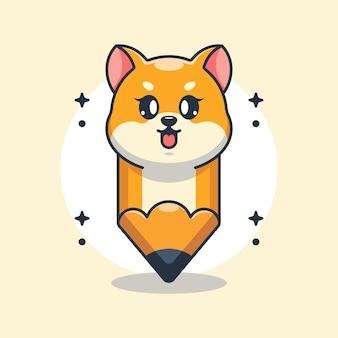 かわいい鉛筆柴犬の漫画のデザイン