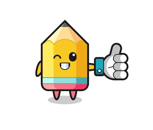 소셜 미디어 엄지손가락 기호가 있는 귀여운 연필, 티셔츠, 스티커, 로고 요소를 위한 귀여운 스타일 디자인