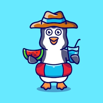 Cute penguin in beach hat with swim rings carrying watermelon and drink