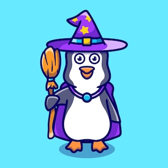 Cute penguin carrying flying broom