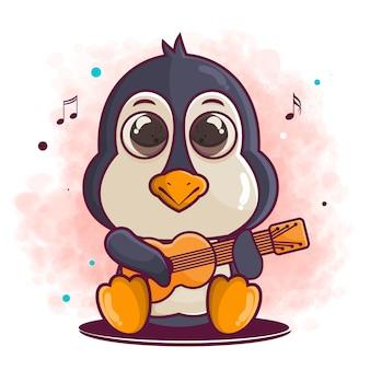 Милый пингвин мультипликационный персонаж играет на гитаре иллюстрации