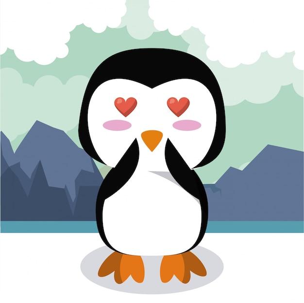 Cute penguin cartoon illustration
