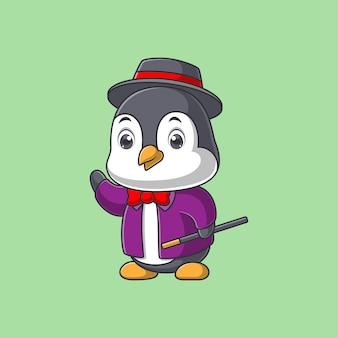 Cute penguin cartoon in magician costume