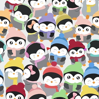 Cute penguin cartoon pattern