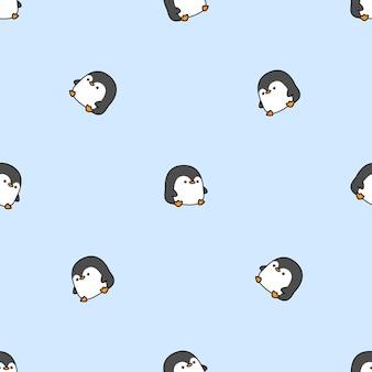 Милый пингвин мультфильм бесшовный фон