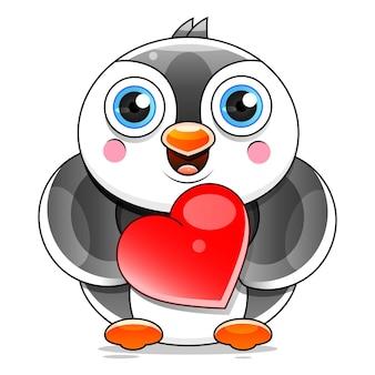 白い背景の上のストックイラストを振ってかわいいペンギン漫画。デザイン、装飾、ロゴに。
