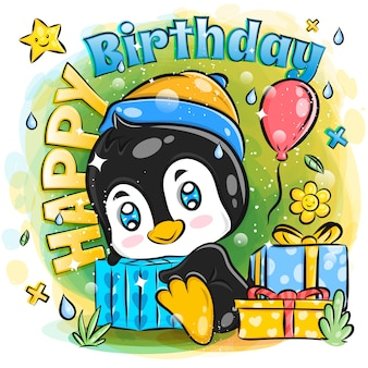 Cute penguin celebrate happy birthday with birthday gift illustration