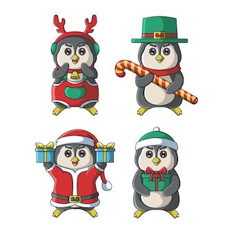 かわいいペンギンのキャラクターのクリスマスイラスト