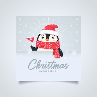 Cute penguin christmas background with copyspace