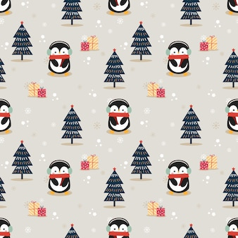Cute penguin in christmas season seamless pattern
