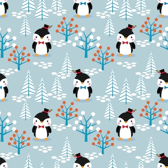 Cute penguin in christmas theme seamless pattern