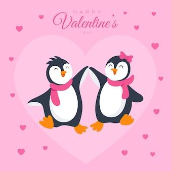 Милая пара пингвинов гуляет вместе в любви