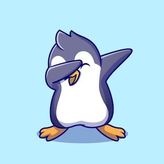 かわいいペンギン軽くたたく漫画アイコンイラスト。分離された動物のポーズアイコン。フラット漫画スタイル