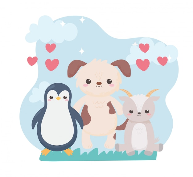 귀여운 펭귄 강아지와 염소 마음 만화 동물