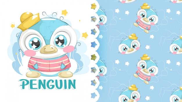 Cute penguin drawing with patterns background