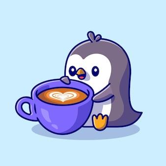 Cute penguin drinking coffee cartoon icon illustration.