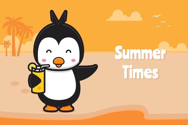 Милый пингвин пьет апельсиновый сок с летним приветствием баннер мультфильм значок иллюстрации