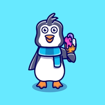 Cute penguin eating ice cream illustration