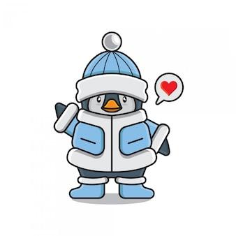 Cute penguin emoji love