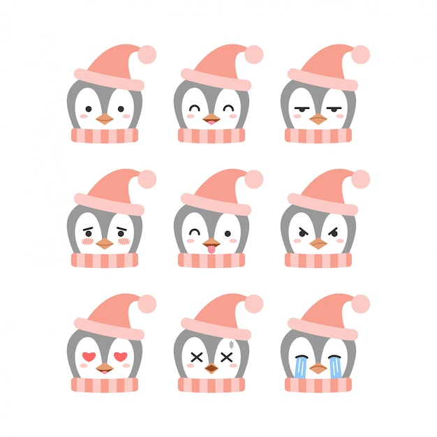 Cute penguin emoticon set